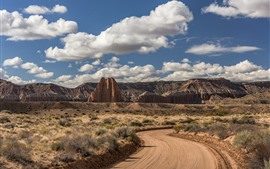Preview wallpaper USA, Utah, Cathedral Valley, road, clouds