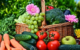 Preview wallpaper Vegetables, cabbage, grapes, tomatoes, carrots, cucumber, apple, gerbera