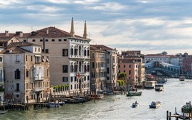 Venice, Italy, river, houses, city, boats