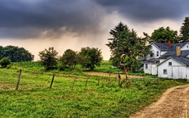 Preview wallpaper Village, house, grass, fence, trees, dusk