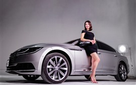 Preview wallpaper Volkswagen silver car, smile girl, model