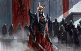 Preview wallpaper Warrior, fantasy, mask, sword, blood, art picture