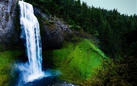 Preview wallpaper Waterfall, slope, trees, moss, nature