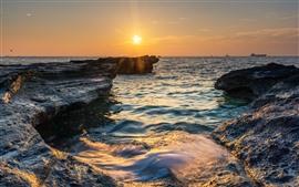 Preview wallpaper Weizhou Island, sea, rocks, sunset, China