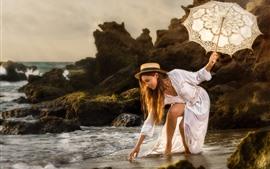 Preview wallpaper White skirt girl, sea, coast, umbrella