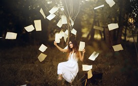 Preview wallpaper White skirt girl, tree, paper, art photography