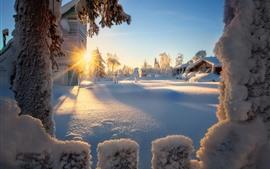 Winter, snow, houses, trees, sun rays