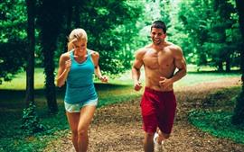 预览壁纸 女人和男人,跑步,运动