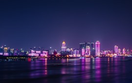 Preview wallpaper Wuhan, Yangtze River, city, skyscrapers, lights, night, China