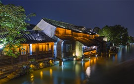 Preview wallpaper Wuzhen, Zhejiang, China, night, houses, river, lights