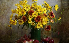 Fleurs jaunes, bouquet, vase, pommes rouges, nature morte