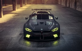 Preview wallpaper 2018 BMW M8 GTE black racing car, headlight