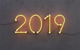 壁紙のプレビュー 2019年新年、ネオン、壁