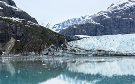 Alaska, glacier, mountains, lake, snow