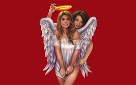 Chicas angel, halo, fondo rojo