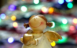 Angel, statue, love heart, colorful light circles