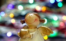 Anjo, estátua, coração de amor, círculos de luz coloridos