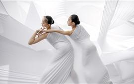 Dança da arte, meninas de dança, estilo branco
