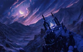 Preview wallpaper Art picture, fantasy, crystal, snow, night, moon, clouds