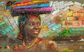 Preview wallpaper Art picture, mosaic, Africa, girl, book