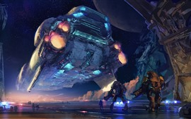 Preview wallpaper Art picture, spaceship, robots, sci fiction