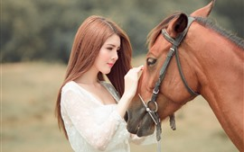 Preview wallpaper Asian girl and brown horse