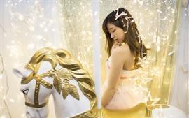 Asian girl, carousel, room, lights, shine