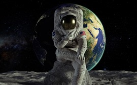 Preview wallpaper Astronaut, Earth, moon, space