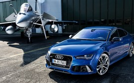 Preview wallpaper Audi RS7 Sportback blue car and fighter