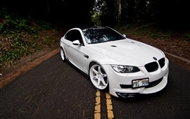 BMW M3 E92 white car front view, road