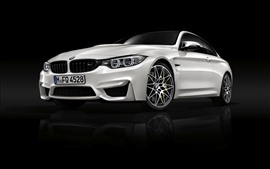 Preview wallpaper BMW M4 white car front view, black background