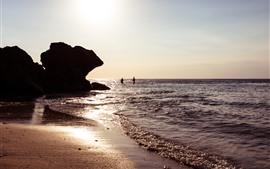 Bali, Indonesia, mar, olas, sol, rocas
