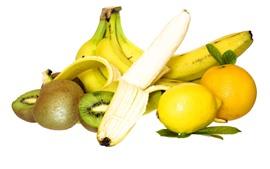 Preview wallpaper Banana, kiwi, lemon, orange, white background
