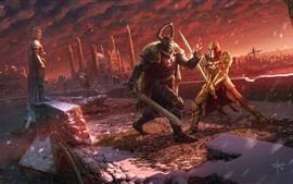 Aperçu fond d'écran Bataille, guerrier, armure, épée, photo d'art