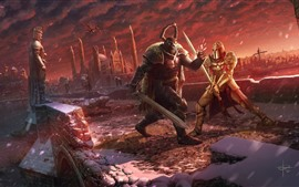 Preview wallpaper Battle, warrior, armor, sword, art picture