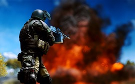 Preview wallpaper Battlefield 4, soldier, weapon, fire