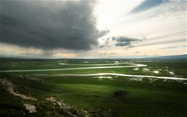 Pradera de Bayanbulak, Xinjiang, paisaje de hermosa naturaleza, nubes, río