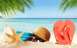 Preview wallpaper Beach, sands, glasses, starfish, hat, flip flops