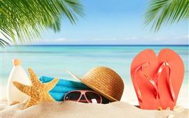 Praia, areias, óculos, estrela do mar, chapéu, chinelos