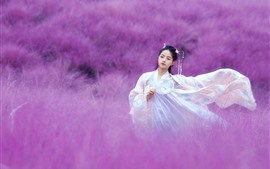 Preview wallpaper Beautiful Chinese girl, retro style, pink flowers world