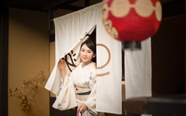 Preview wallpaper Beautiful Japanese girl, kimono, smile, lantern