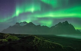 Preview wallpaper Beautiful Northern lights, mountains, coast, night
