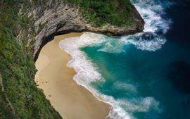 Hermosa playa, mar, olas, Nusa Penida.
