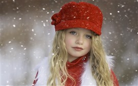 Preview wallpaper Beautiful blonde little girl, child, hat, snow