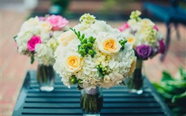 Beautiful flowers, bouquet, rose, hydrangea, vase