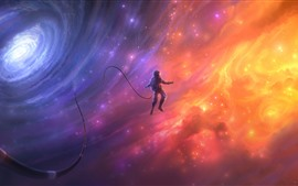 Preview wallpaper Beautiful space, astronaut, galaxy, art picture