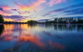 Красивый закат, парк, озеро, деревья, облака, Китай