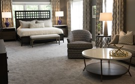 Preview wallpaper Bedroom, sofa, table, lamp