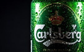 Preview wallpaper Beer, green bottle, water droplets, black background