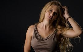 Preview wallpaper Blonde girl, fashion, black background